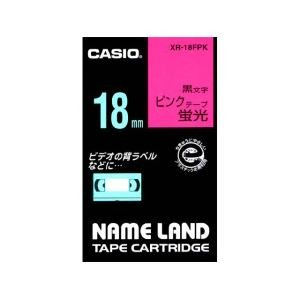 Casio Tape - 18mm XR18FPK Black on fluoreescent Pink