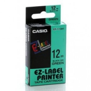 Casio XR-12GN1 Black on Green Label Printer Tape