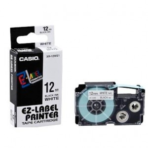 Casio 12mm White EZ Label Printer Tape XR-12WE1‎