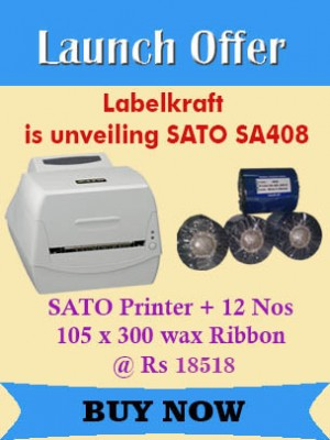 SATO PRINTER SA408 + 12 NOS 105MM X 300MTRS