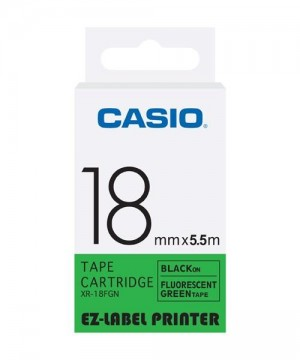 Casio Tape - 18mm XR18FGN  Black on Fluorescent Green