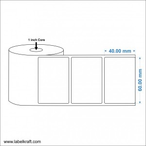 Direct Thermal Label 60mm x 40mm (1000 Labels Per Roll)