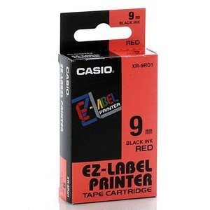 CASIO EZ-Label Tape XR-9RD1 Black on Red